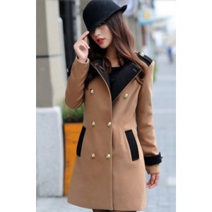 Пальто AliExpress Woolen Blend Camel Black Long Sleeve Plus Size Double Breasted Casual Coat Women Outerwear New Fashion 2013 Autumn Winter Jacket фото