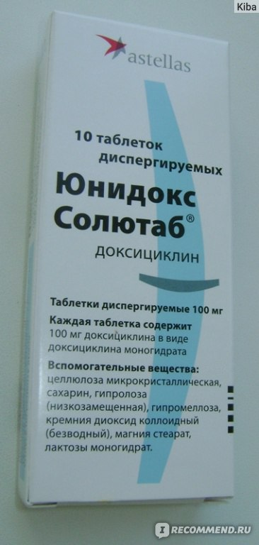 Антибиотик юнидокс при прыщах