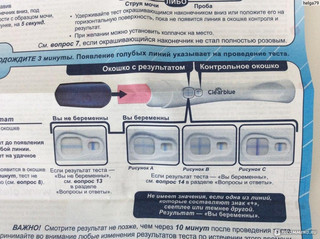 Результаты теста на беременность clearblue