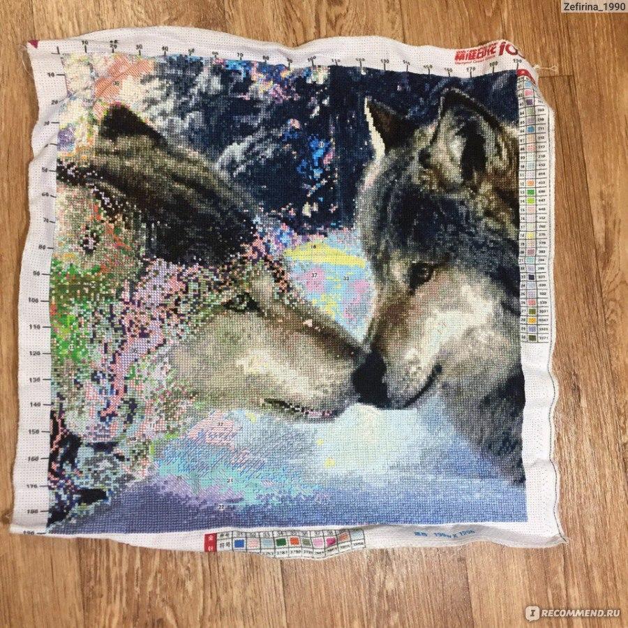 Вышивка крестиком с парой волков