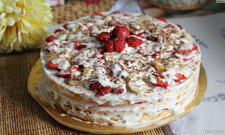 Бисквитный творожный торт с фруктами рецепт с пошагово