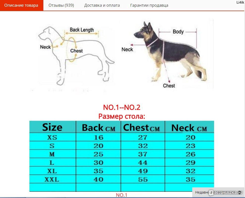 Размеры Одежды Собак