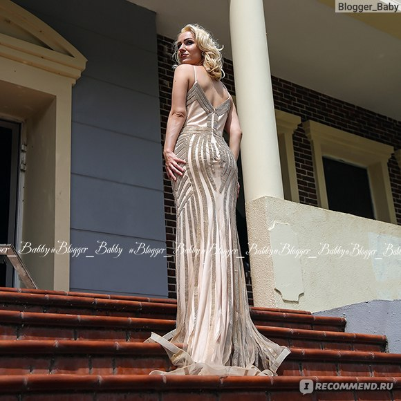 18b2f8a708c Вечернее платье AliExpress Finove Champagne Evening Dresses 2018 Elegant  V-neck Sleeveless Sexy Formal Crystal