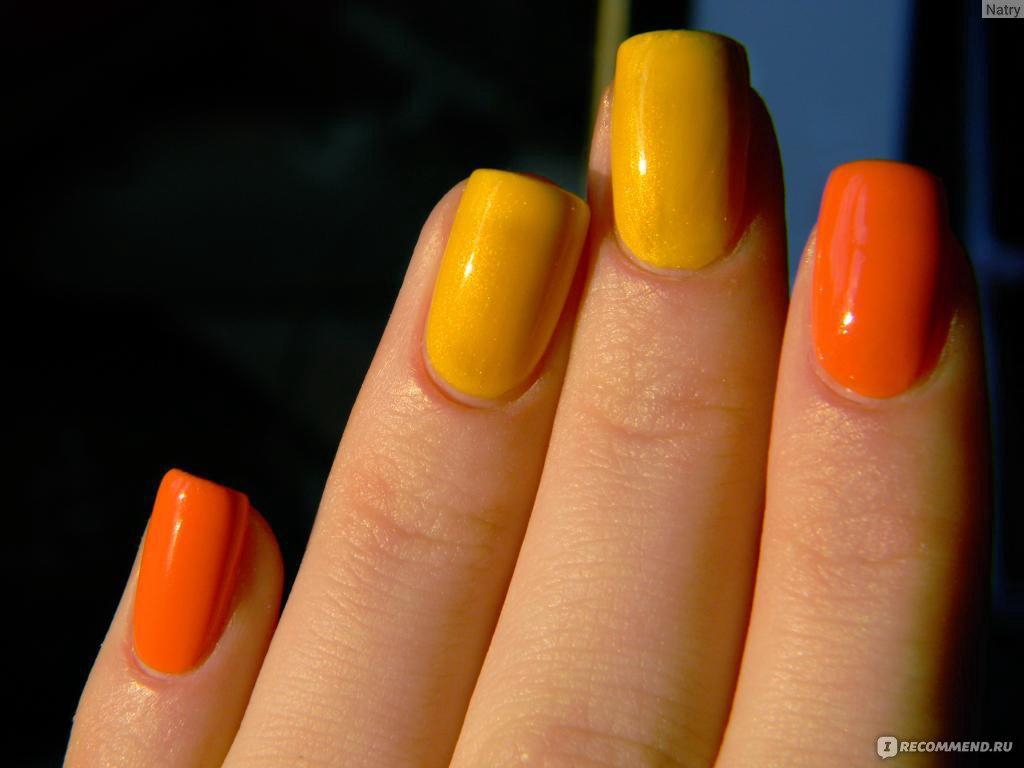 Желтый и оранжевый цвет на ногтях