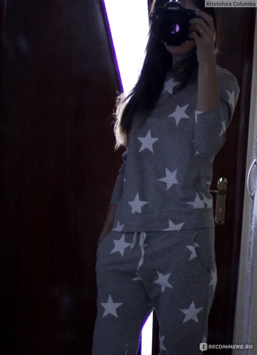 2d648f68625a Спортивный костюм AliExpress WOTWOY Stars Print Two Piece Set WomenWinter  Pyjamas Sets Casual O-Neck