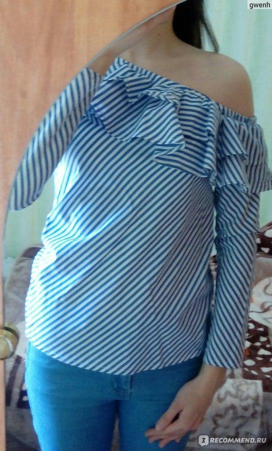 8b8655c7e4332 Блузка AliExpress CHURSES One shoulder ruffles blouse shirt women tops 2017  autumn Casual blue striped shirt