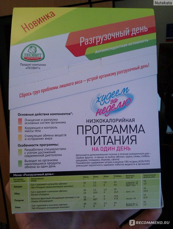 худеем за неделю на 5 ru меню