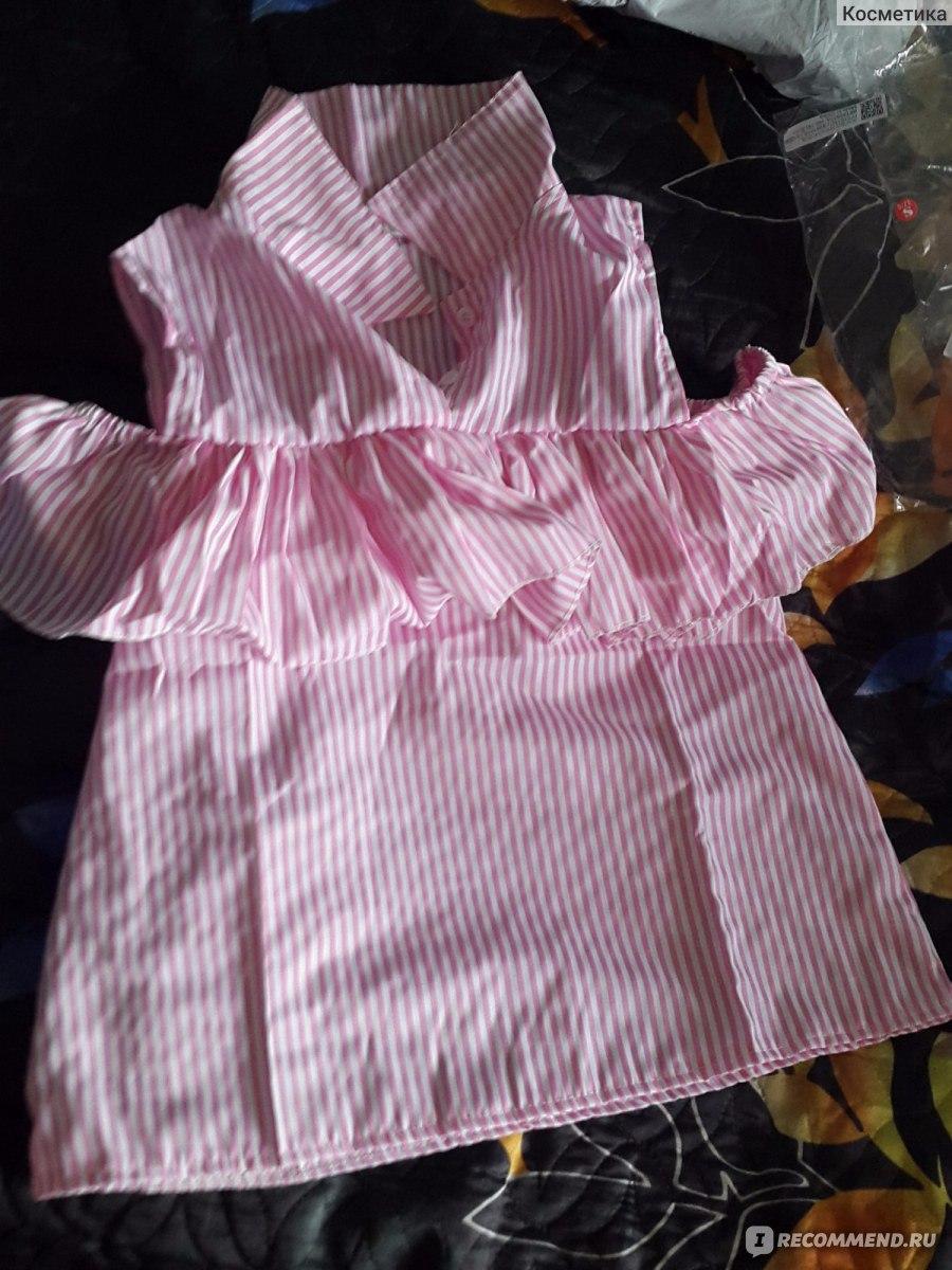 3c64f778017 Блузка AliExpress Trendy Summer Women Loose Ruffles Off the Shoulder Plaid  Striped Blue Pink Shirts Top