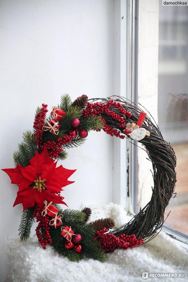 Новогодний венок на дверь своими руками из веток