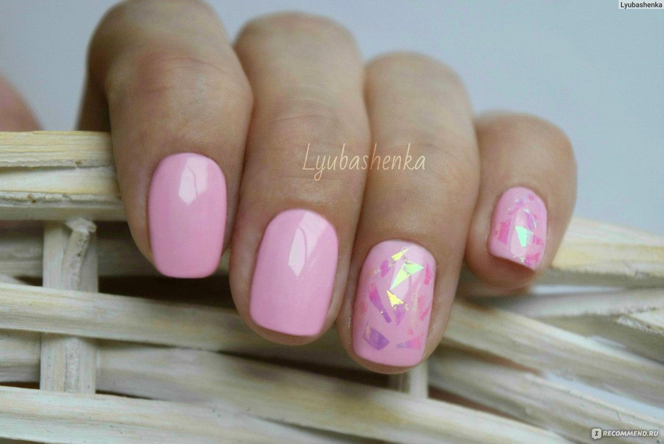 Маникюр битое стекло гель лак розовый фото