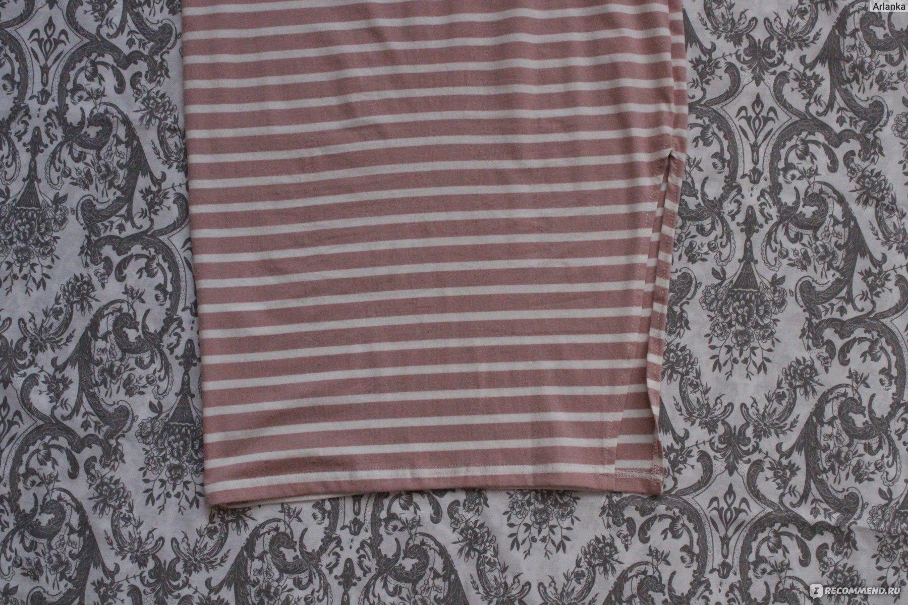 12ae874cfed Платье AliExpress FATIKA Women Casual Summer Dress Short Sleeve O-Neck  Bodycon Dress Striped Side