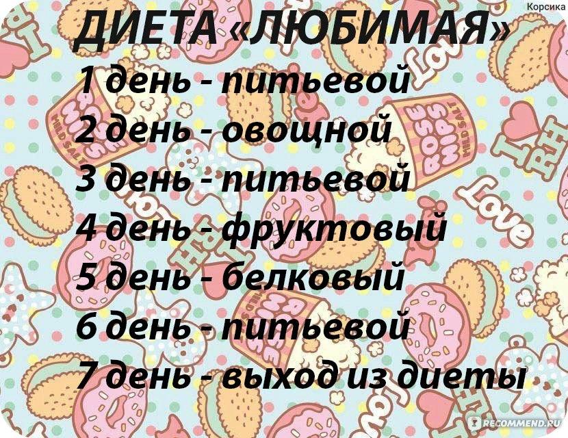 Рецепты Диеты Любимая. Меню и результаты диеты Любимая на 7, 10, 12 и 14 дней и на каждый день. Жесткий вариант диеты Любимая и правильный выход