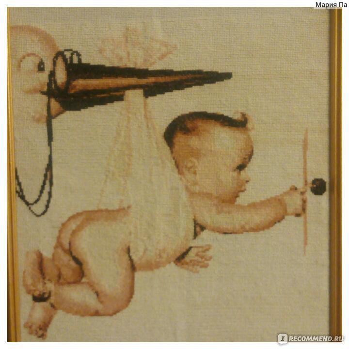 Аист и младенец схема вышивки