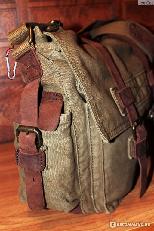 cfceb7461aee Мужская сумка Aliexpress Men s Vintage Canvas Leather Military School Bag  Bag фото