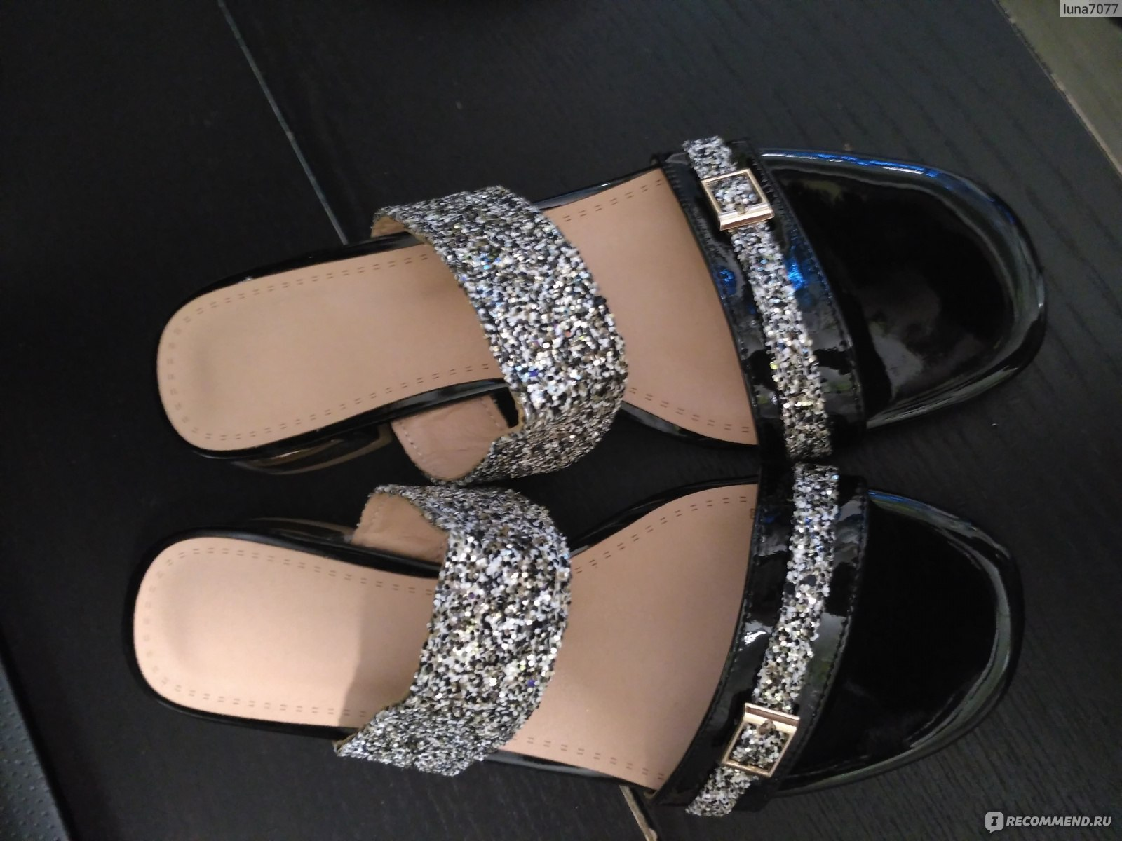 Босоножки Aliexpress Meotina Women Sandals Summer 2017 Women Slides Glitter  Low Heel Slippers Causal Beach Shoes be2dfcfb037b