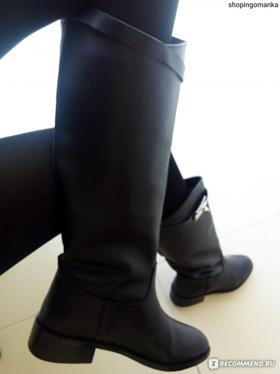 25b79474fa4c Сапоги демисезонные Aliexpress Hermes Ladies Fashion Brand Black Genuine  Leather Knee Boots фото