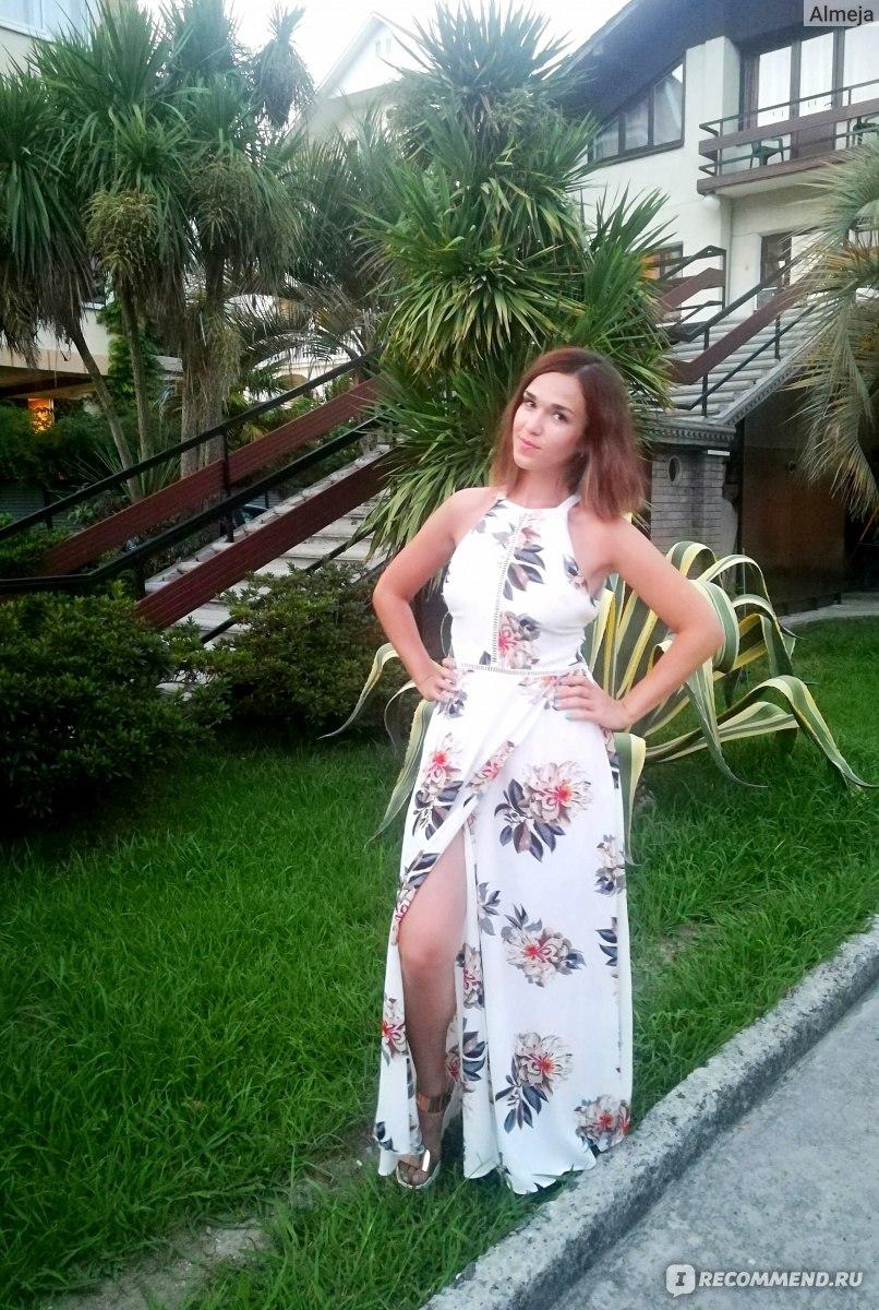 c570a017d0 Платье AliExpress Simplee Floral print halter chiffon long dress Women  white split beach summer dress Sexy