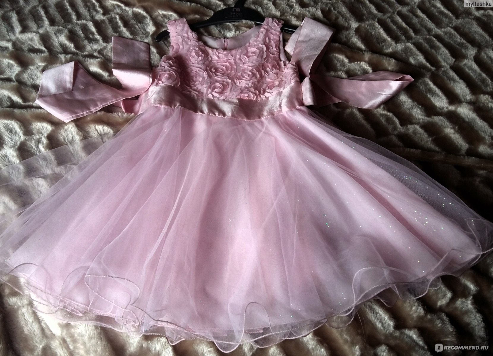 Платье AliExpress Retail Girls Dress Princess dress children s Party dress  with bow girl wedding flower Baby 556085780866