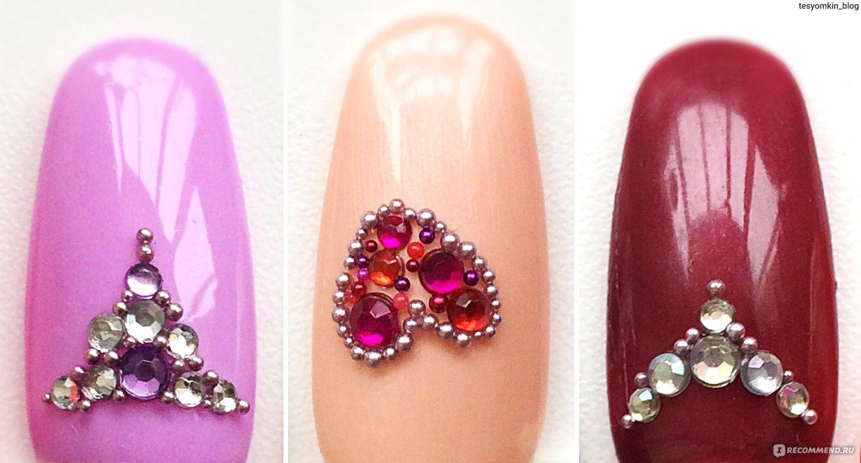 Как красиво выложить стразы на ногтях на руках