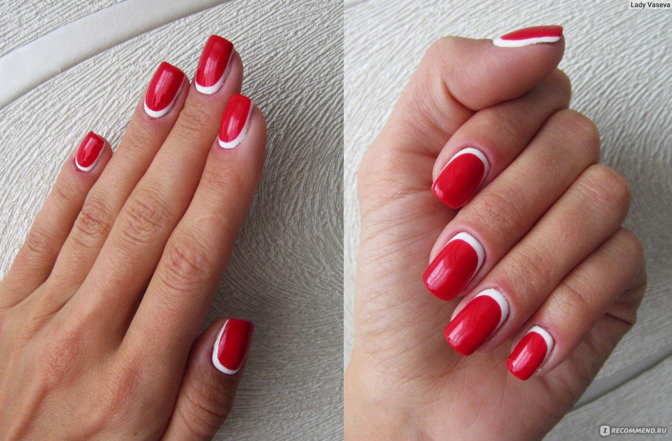Французский маникюр с красным лаком на коротких ногтях фото