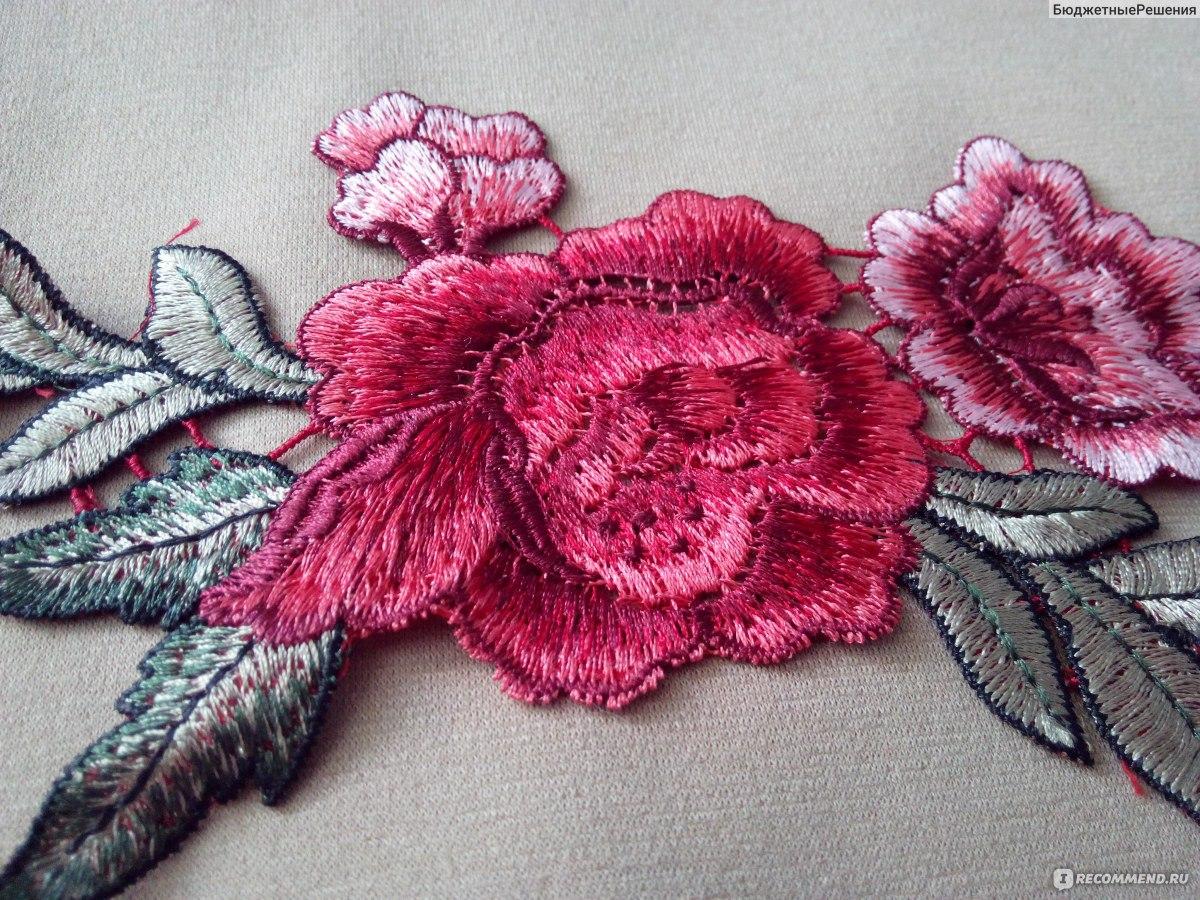 нашивки Aliexpress 1 X Beautiful Off White Fabric Flower Neckline