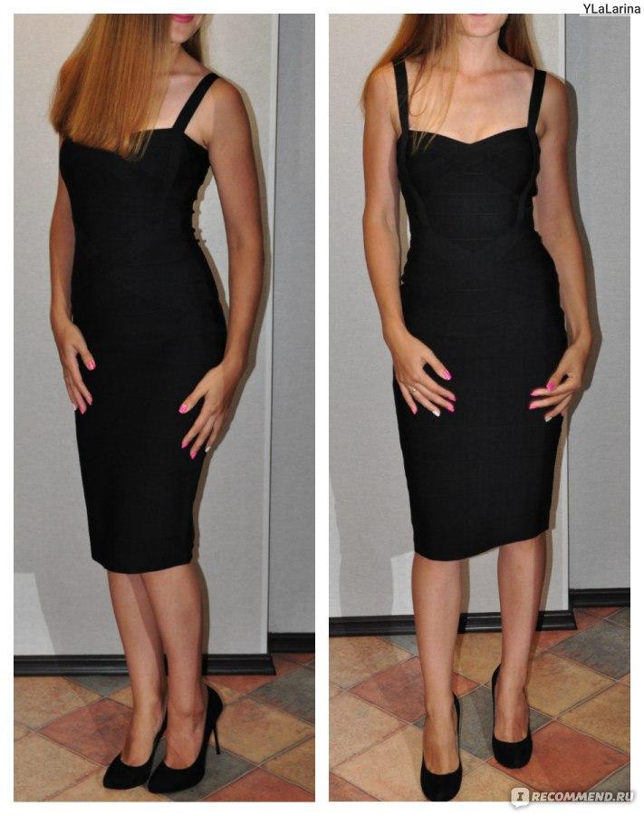 Черное Бандажное Платье Купить