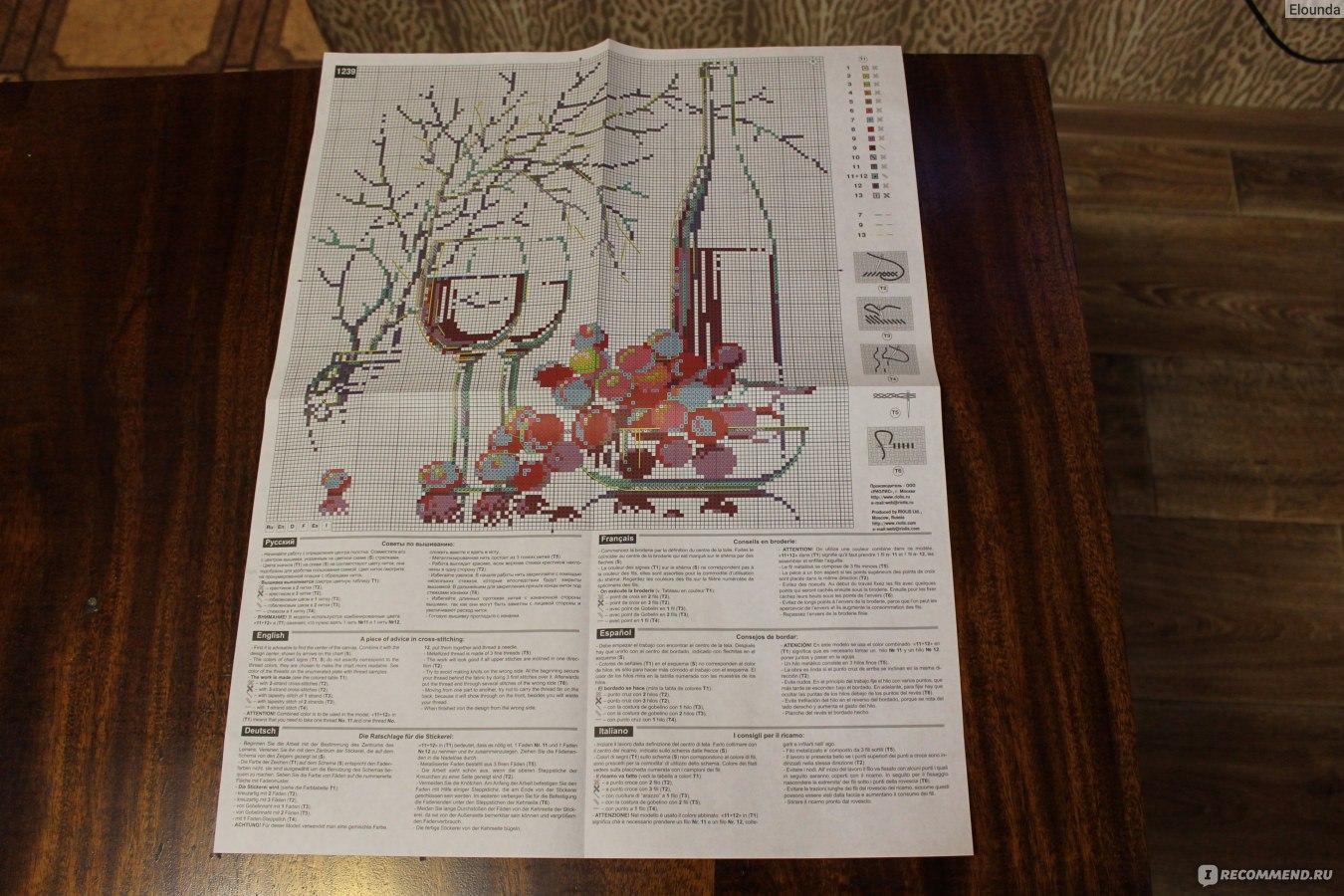 схема вышивки крестом бутылка вина и виноград