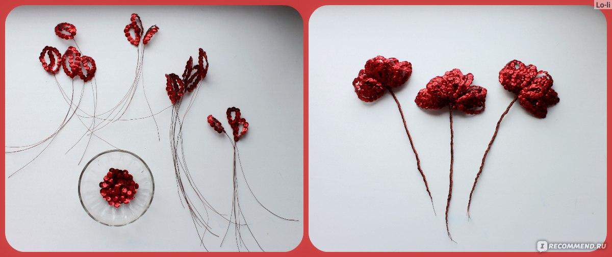 Схема вышивки розы пайетками 10