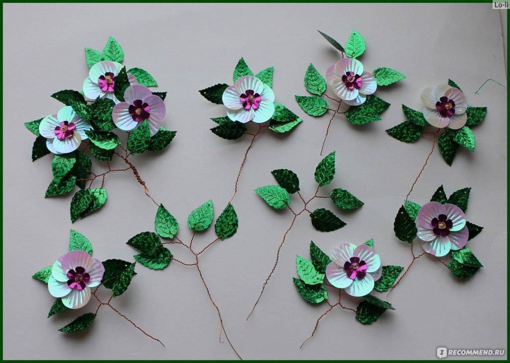 Цветы своими руками с паетками 91