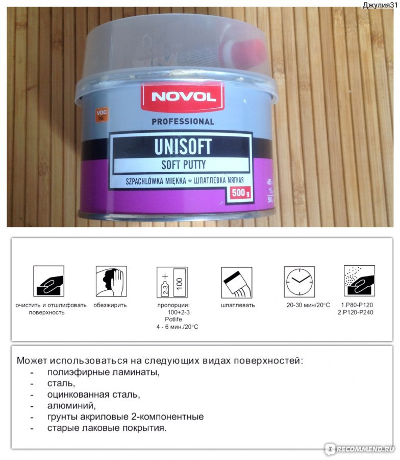 Шпатлевка novol мягкая unisoft 0,5кг +отв. 15g (1шт. Х15g) nvl-1151.