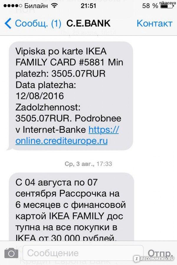 online crediteurope ru погашение кредита