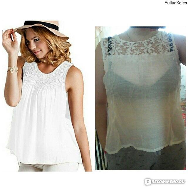 19da17173f20 Топ AliExpress Women s Summer Sexy Sleeveless Lace Collar Blouse Back  Bandage Vest Tops smt 87 фото