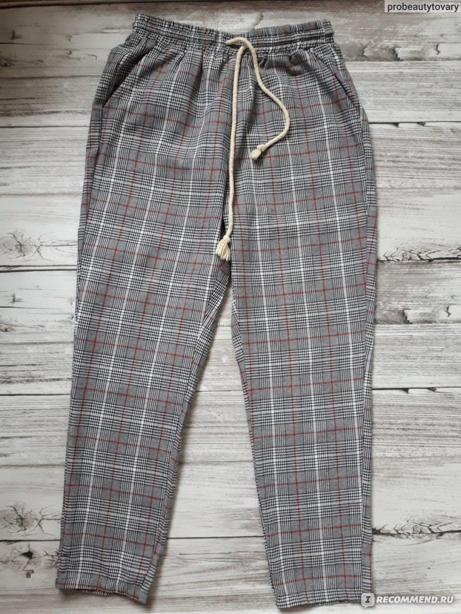 a2fb4c9901f5 Брюки AliExpress SHEIN Drawstring Detail Plaid Peg Pants Grey High Waist  Trousers Elastic Waist Loose Cropped