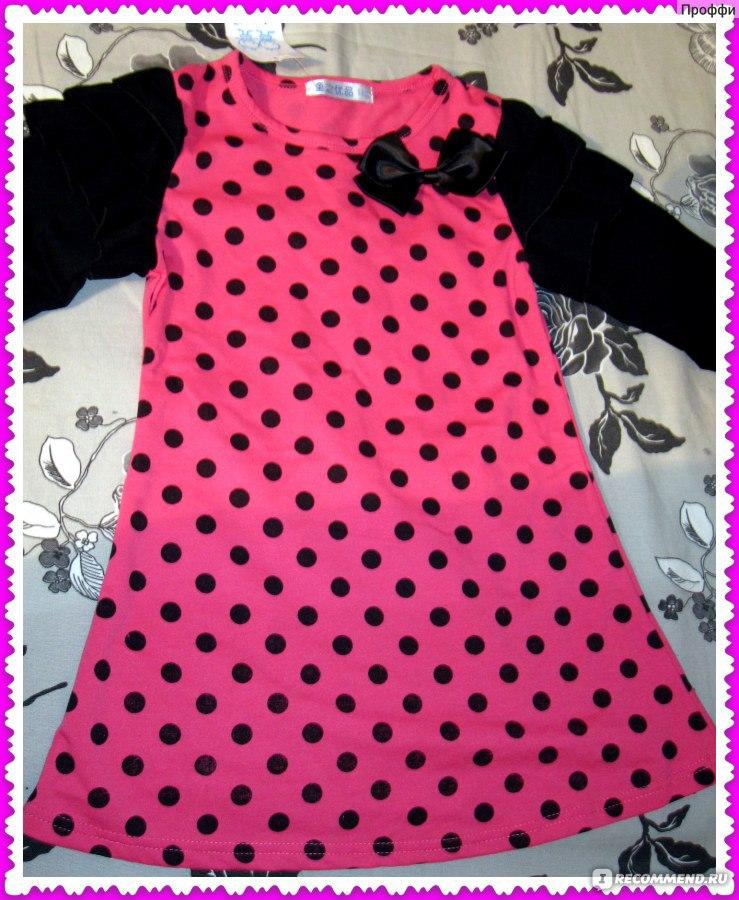 5bf6a18af49 Платье детское AliExpress Платье в горошек new 2014 4pcs girls red dots  dress childrens dot bow