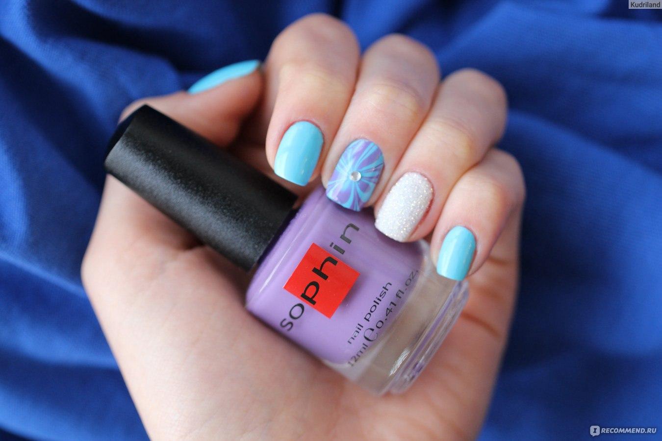 Маникюр голубой и сиреневый цвет