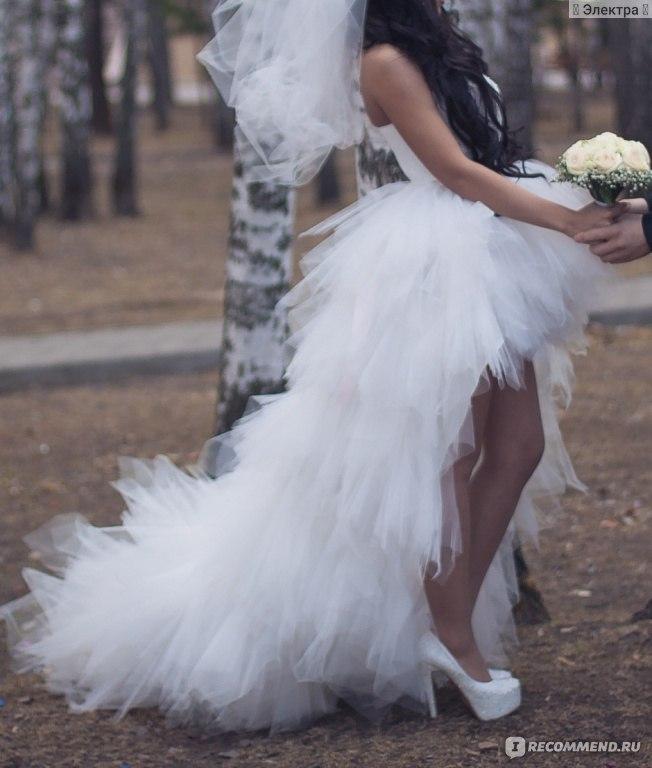Свадебные Платья Спереди Короткие Сзади Длинные С Кружевом