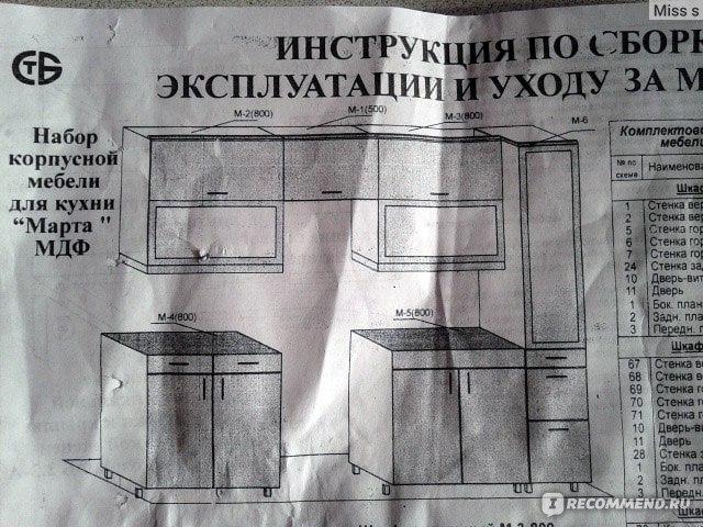 Подробная инструкция по сборке кухни марта 3.1