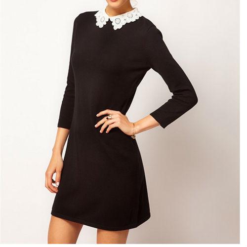 11c6f97a1bd Платье AliExpress Sexy Slim Lady Woman lace collar dress Black Mini Dress -  отзыв