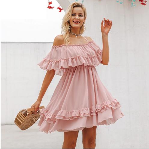 9b846a71c377f Платье AliExpress Simplee Elegant ruffle off shoulder women dress Spaghetti  strap chiffon summer dresses Casual holiday female pink short sundress -  отзыв