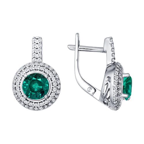 09f6df7853ed Ювелирные изделия SOKOLOV Серьги из родированного серебра с зелёным  фианитом Арт. 94021013 - отзывы
