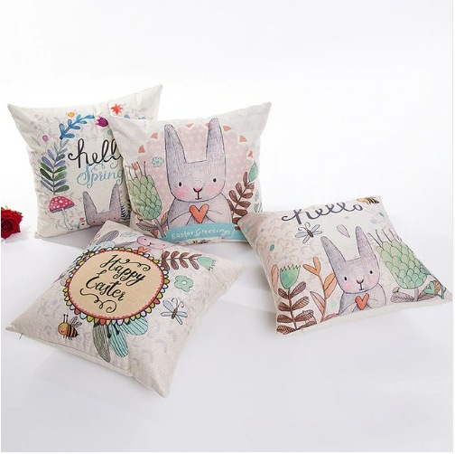 AliExpress 4545cm 2019 Happy Easter Decorations For Home Decor Pillows Rabbit Eggs Cotton Sofa Pillow Cases