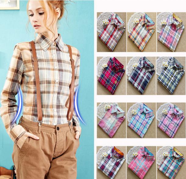 249402edcf7c44b Рубашка женская AliExpress Plaid style Blouse Cotton BL287   Отзывы ...