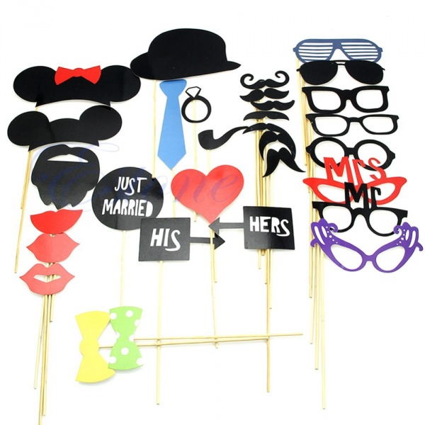 898722f861c7 Аксессуары для фотосессии Aliexpress 31PCS New DIY Masks Photo Booth Props  Mustache On A Stick Wedding