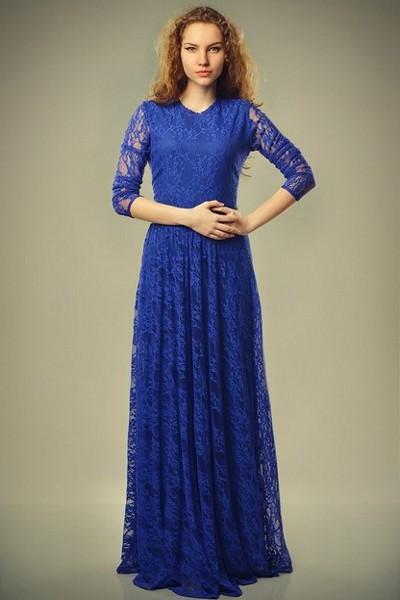 Платье синее в пол гипюровое платье