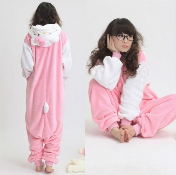 Пижама AliExpress New Adult Pokemon Costume White Sleeve Hello Kitty Cat  Kigurumi Japen Pajamas Cosplay Sleepwear - отзывы 36b579c8b450c