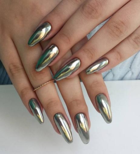 дизайн ногтей с зеркальной втиркой фото