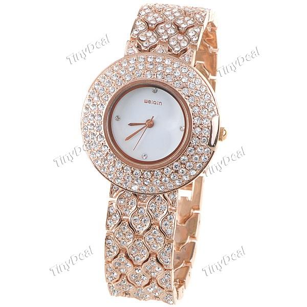 золотом женские часы Alias Kim со стразами