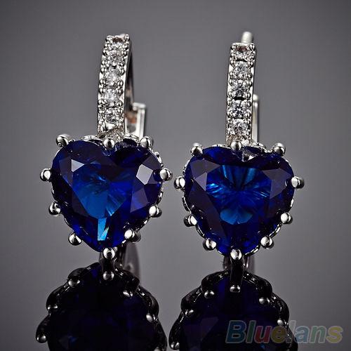 Серьги Ebay Women s 18K White Gold Plated Sapphire Blue Crystal