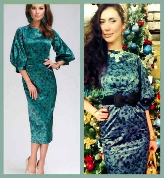 c4341e197bca3a8 Вечернее платье 1001dress длины миди изумрудное с черным цветочным  орнаментом и пышным рукавом DM00271GR фото