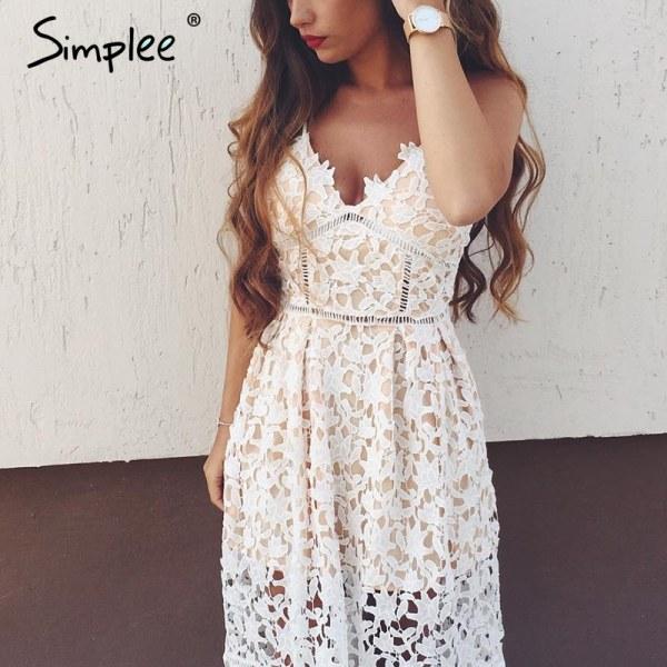ab05c234d1f6234 Платье летнее AliExpress Simplee Padded hollow out lace dress Lined summer  dress 2017 women dress shirt Zipper party sundress vestido de festa - отзывы
